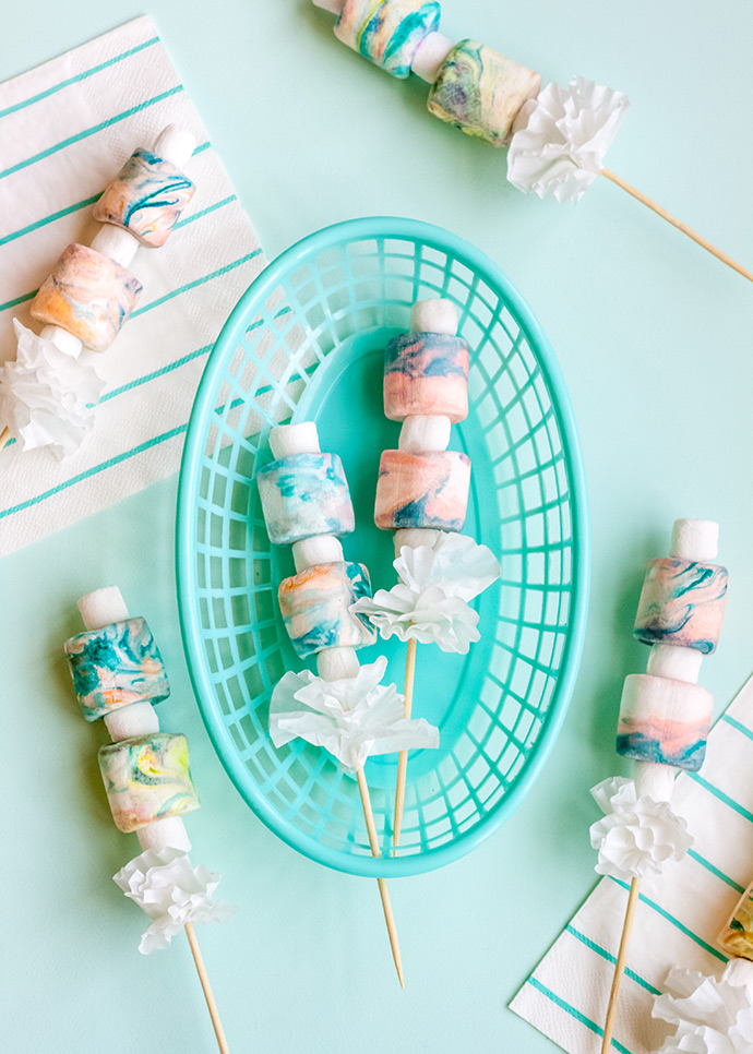 DIY Marbled Store-Bought Marshmallows