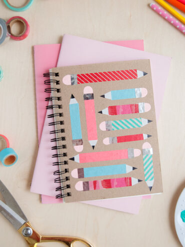 How to Decorate Notebooks with Washi Tape and Fingerprint Art