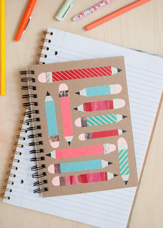 Как украсить записные книжки с помощью ленты васи и отпечатков пальцев