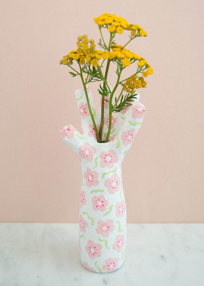 Upcycled Paper Mache Hand Vase
